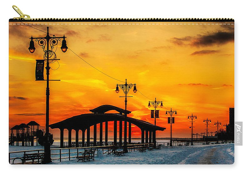 Coney Island Carry-all Pouch featuring the photograph Coney Island Winter Sunset by Chris Lord