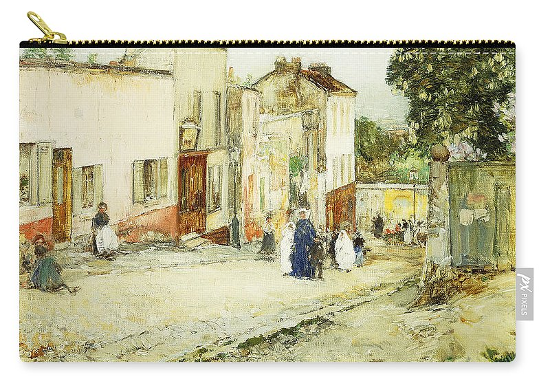 African-american; American Impressionism;impressionist; Attire; Blue; Boys; Building Exterior; Caucasian; Caucasian Ethnicity; Children; Town Life; Clothes; Clothing; Community; Color; Countryside; Daytime;deterioration; Disrepair; Ethnic Origin; Exterior Carry-all Pouch featuring the painting Confirmation Day by Childe Hassam