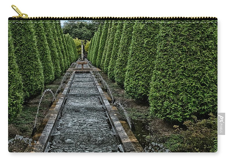 Conifer Water Feature Carry-all Pouch featuring the photograph Conifer Lined Water Feature by Brothers Beerens
