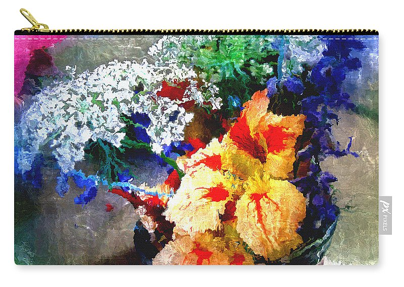 Delphinium Carry-all Pouch featuring the digital art Conjuring Claude Monet by RC DeWinter