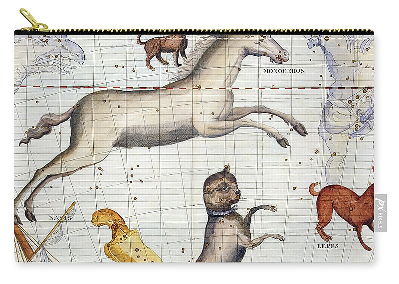 Map Carry-all Pouch featuring the painting Constellation of Monoceros with Canis Major and Minor by Sir James Thornhill