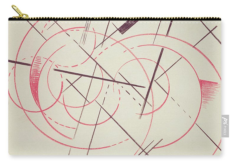 Intersecting Lines Carry-all Pouch featuring the drawing Constructivist Composition, 1922 by Lyubov Sergeevna Popova