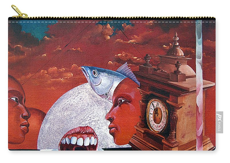 Otto+rapp Surrealism Surreal Fantasy Time Clocks Watch Consumption Carry-all Pouch featuring the painting Consumption Of Time by Otto Rapp