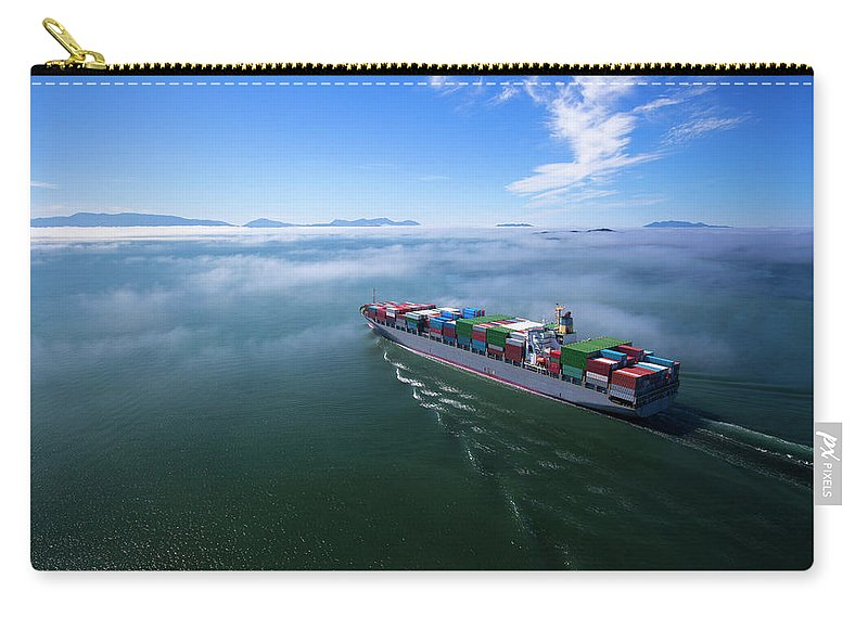 Freight Transportation Carry-all Pouch featuring the photograph Container Ship by Dan prat