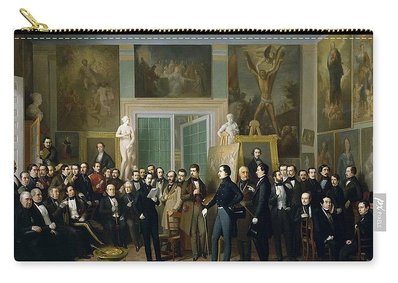 Antonio Maria Esquivel Carry-all Pouch featuring the painting Contemporary Poets. A Reading By Zorilla In The Painters Studio by Antonio Maria Esquivel