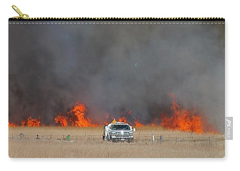 Fire Carry-all Pouch featuring the photograph Controlled Burn And Brush Truck by Wayne Williams