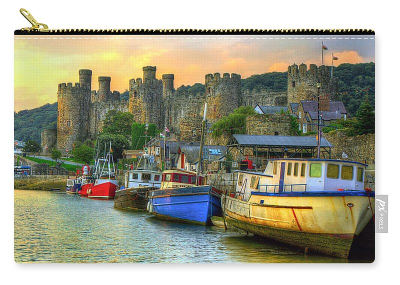 Conwy Carry-all Pouch featuring the photograph Conwy Castle And Harbour by Mal Bray