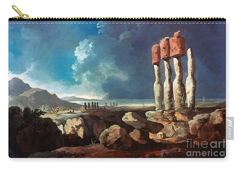 1774 Carry-all Pouch featuring the photograph Cook: Easter Island, 1774 by Granger