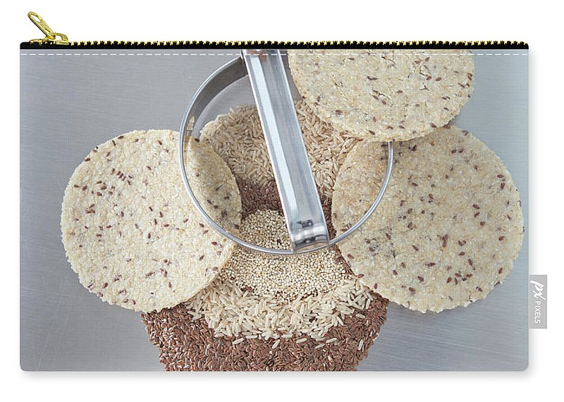Flax Seed Carry-all Pouch featuring the photograph Cookie Cutter With Dough Rounds by Laurie Castelli