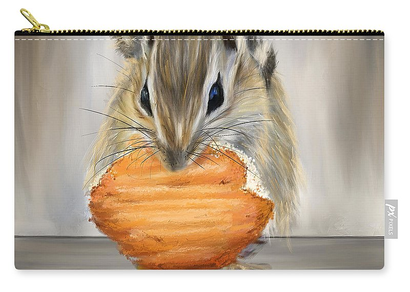 Squirrel Carry-all Pouch featuring the painting Cookie Time- Squirrel Eating A Cookie by Lourry Legarde
