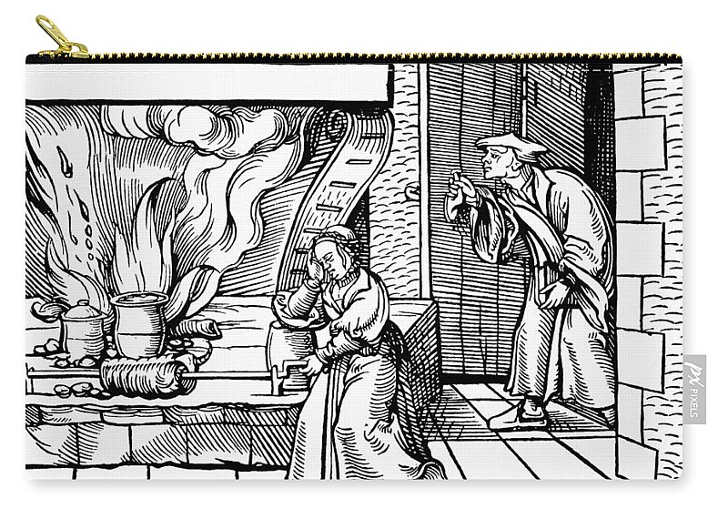1530 Carry-all Pouch featuring the painting Cooking Roast, C1530 by Granger