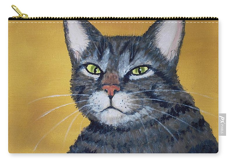 Malakhova Carry-all Pouch featuring the painting Cool Cat by Anastasiya Malakhova