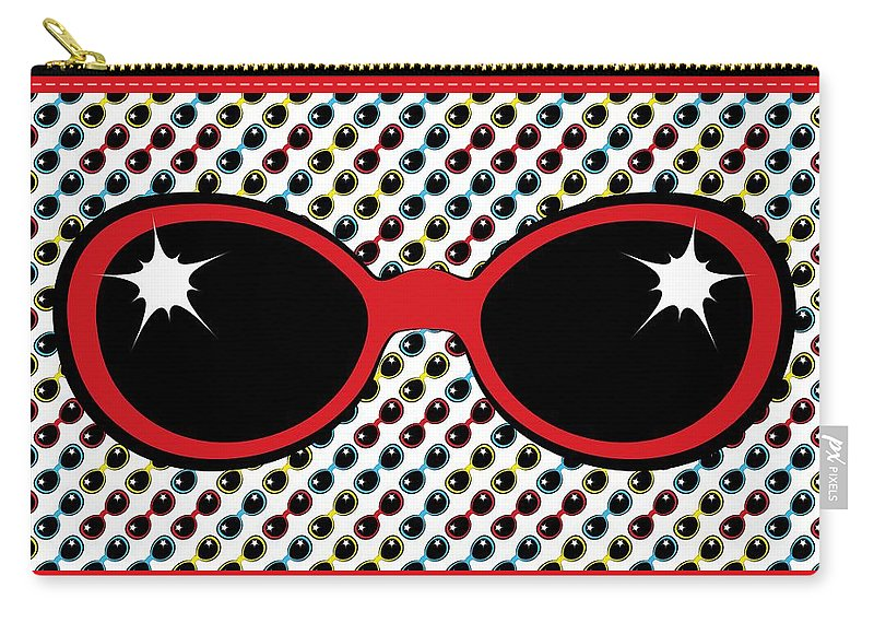 Sunglasses Carry-all Pouch featuring the digital art Cool Retro Red Sunglasses by MM Anderson