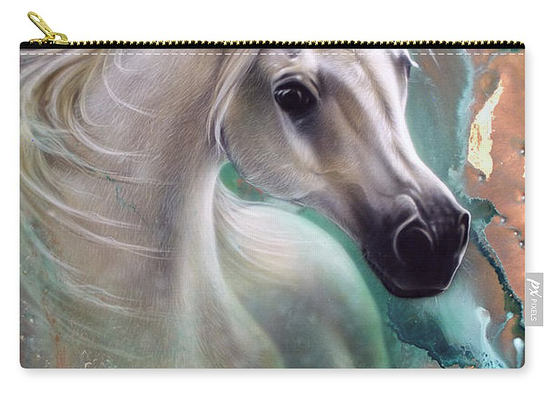 Copper Carry-all Pouch featuring the painting Copper Grace - Horse by Sandi Baker