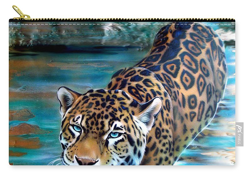 Copper Carry-all Pouch featuring the painting Copper - Temple of the Jaguar by Sandi Baker