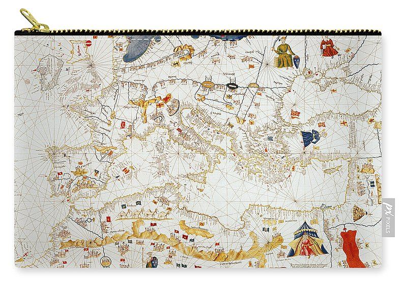 Maps Carry-all Pouch featuring the drawing Copy Of Catalan Map Of Europe, North Africa And The Middle East by Abraham Cresques