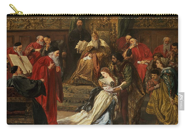 Shakespeare Carry-all Pouch featuring the drawing Cordelia In The Court Of King Lear, 1873 by Sir John Gilbert