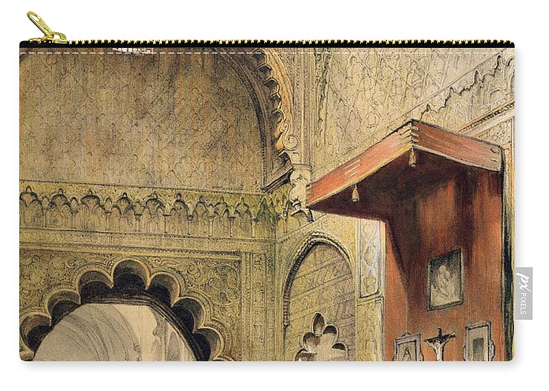 Spanish Carry-all Pouch featuring the drawing Cordoba Monk Praying At A Christian by John Frederick Lewis