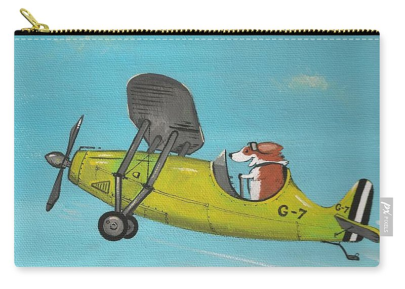 Print Carry-all Pouch featuring the painting Corgi Aviator by Margaryta Yermolayeva