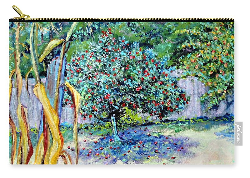 Northern California Garden Painting Carry-all Pouch featuring the painting Corn Stalk And Apple Tree Autumn Lovers by Asha Carolyn Young