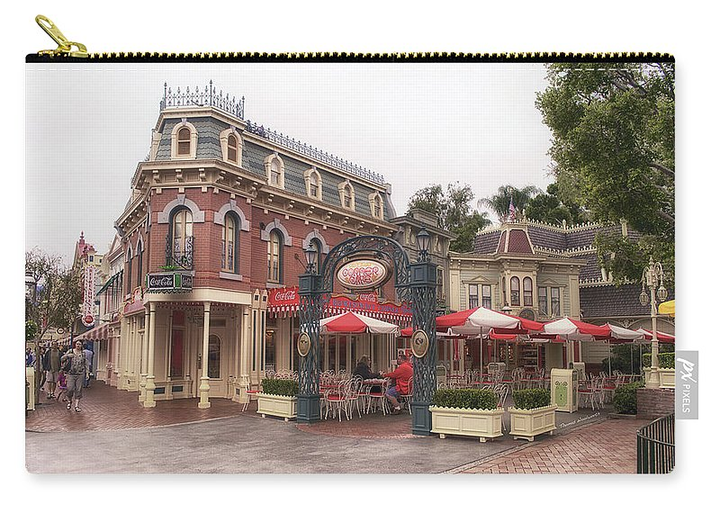 Disney Carry-all Pouch featuring the photograph Corner Cafe Main Street Disneyland 02 by Thomas Woolworth