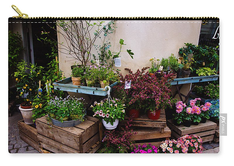 Store Carry-all Pouch featuring the photograph Corner Flower Store by Pati Photography