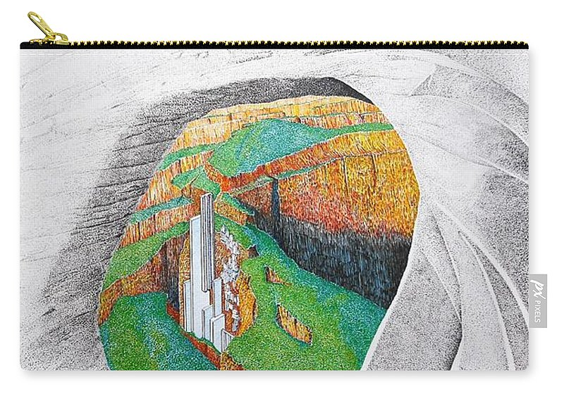 Rocks Carry-all Pouch featuring the painting Cornered Stones by A Robert Malcom