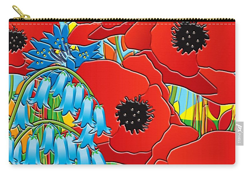 Wild Flowers Carry-all Pouch featuring the painting Cornflower Poppies Bluebells by Neil Finnemore