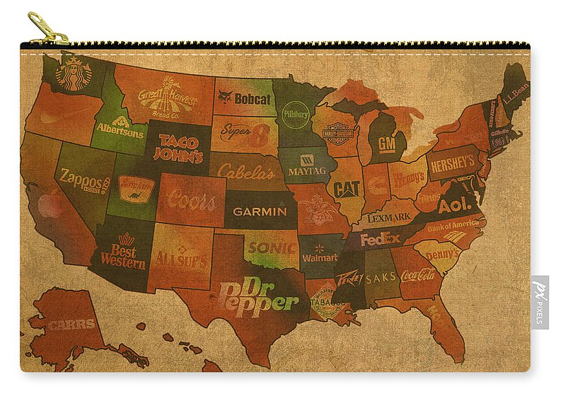 Corporate Carry-all Pouch featuring the mixed media Corporate America Map by Design Turnpike