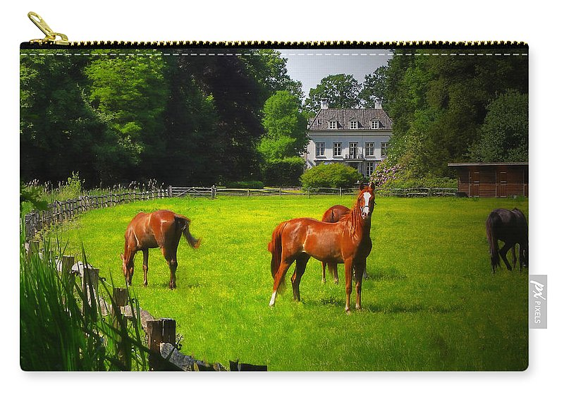 Animal Carry-all Pouch featuring the photograph Corralled Horses - Featured In And Lets All Participate And Abc Groups by Ericamaxine Price