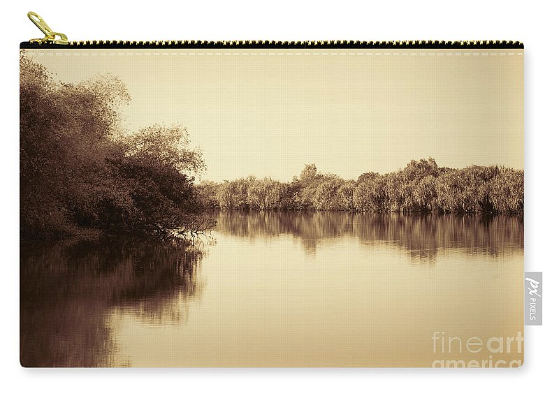 Sepia Carry-all Pouch featuring the photograph Corroboree Billabong In Sepia by Douglas Barnard