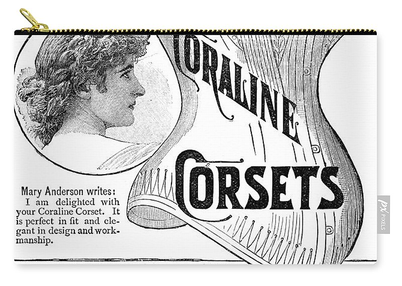 1885 Carry-all Pouch featuring the painting Corset Advertisement, 1885 by Granger