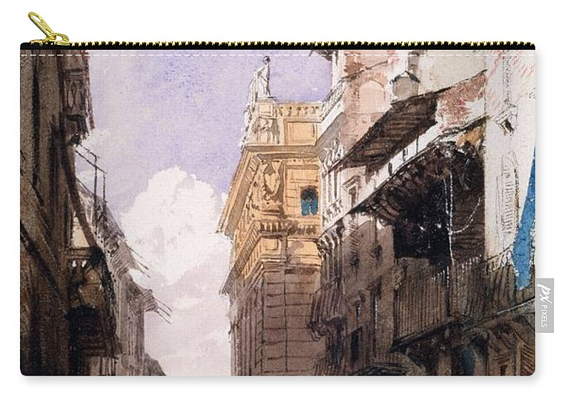 Corso Saint Anastasia Carry-all Pouch featuring the drawing Corso Saint Anastasia, Verona by Richard Parkes Bonington