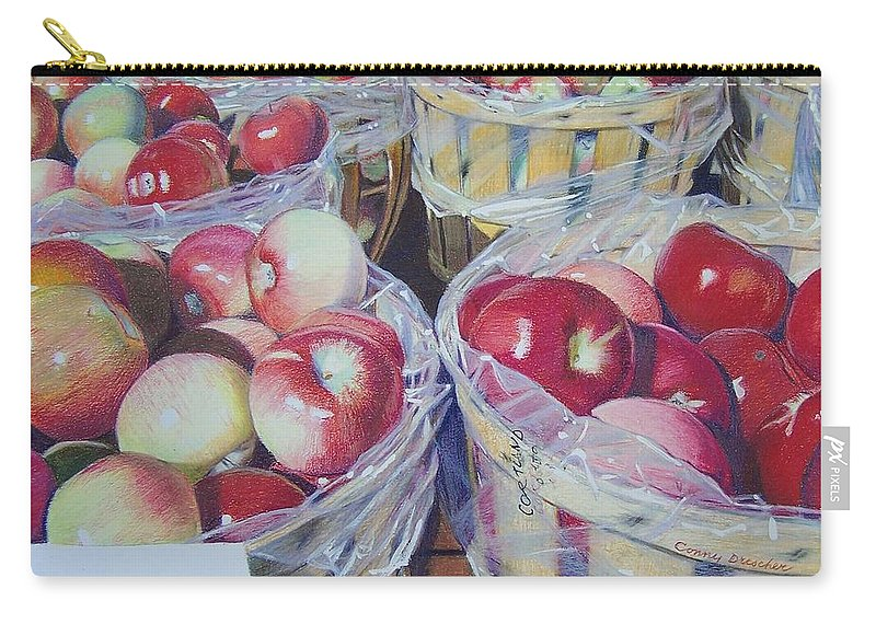 Apple Carry-all Pouch featuring the mixed media Cortland Apples by Constance Drescher