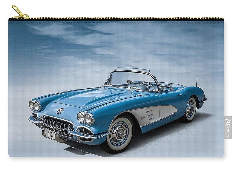 Corvette Carry-all Pouch featuring the digital art Corvette Blues by Douglas Pittman