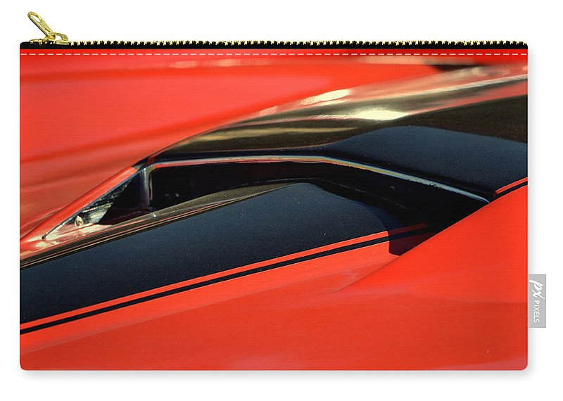 Red Carry-all Pouch featuring the photograph Corvette Torch by Dean Ferreira
