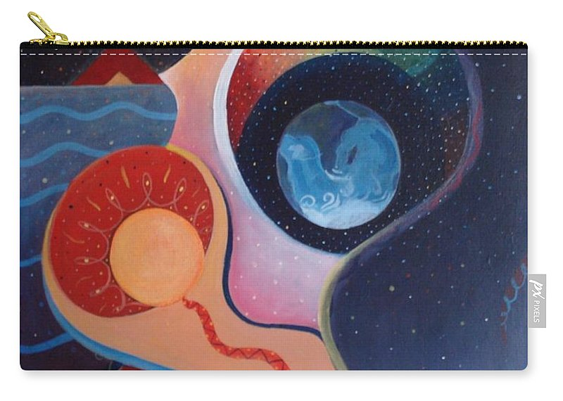 Wanting Carry-all Pouch featuring the painting Cosmic Carnival IIl Aka Desire by Helena Tiainen