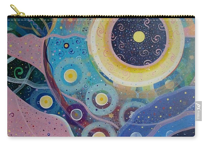 Circles Carry-all Pouch featuring the painting Cosmic Carnival Vl Aka Circles by Helena Tiainen