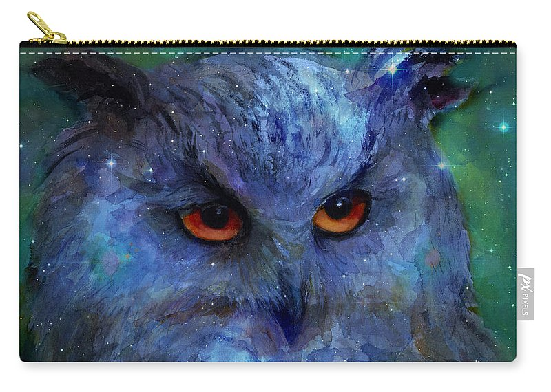 Owl Carry-all Pouch featuring the painting Cosmic Owl Painting by Svetlana Novikova