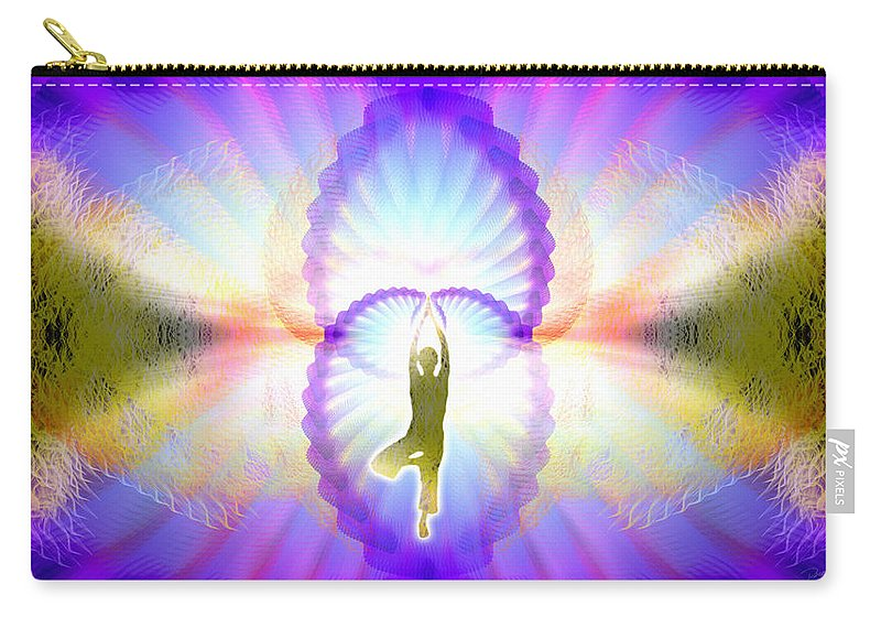 Cosmic Spiral Ascension Carry-all Pouch featuring the digital art Cosmic Spiral Ascension 07 by Derek Gedney