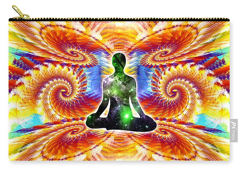 Cosmic Spiral Ascension Carry-all Pouch featuring the digital art Cosmic Spiral Ascension 10 by Derek Gedney