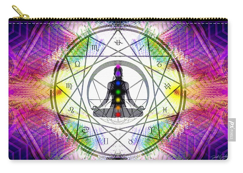 Cosmic Spiral Ascension Carry-all Pouch featuring the digital art Cosmic Spiral Ascension 14 by Derek Gedney