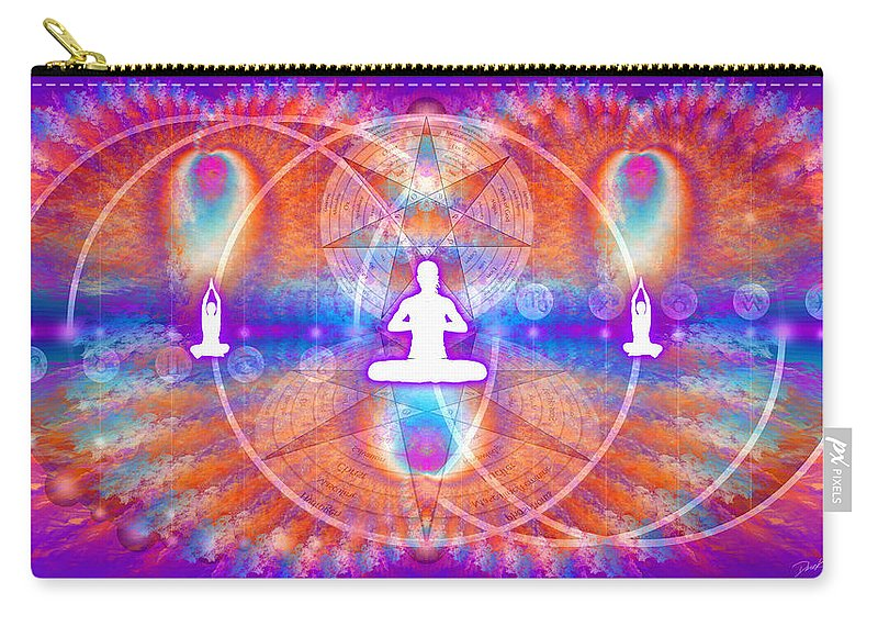 Cosmic Spiral Ascension Carry-all Pouch featuring the digital art Cosmic Spiral Ascension 15 by Derek Gedney