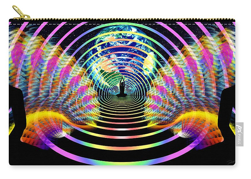 Cosmic Spiral Ascension Carry-all Pouch featuring the digital art Cosmic Spiral Ascension 16 by Derek Gedney
