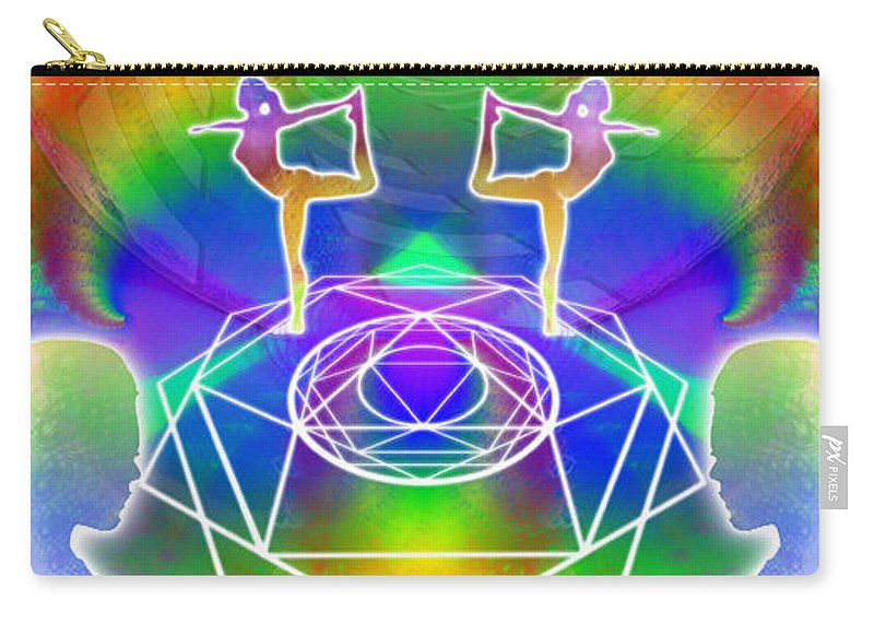 Cosmic Spiral Ascension Carry-all Pouch featuring the digital art Cosmic Spiral Ascension 17 by Derek Gedney