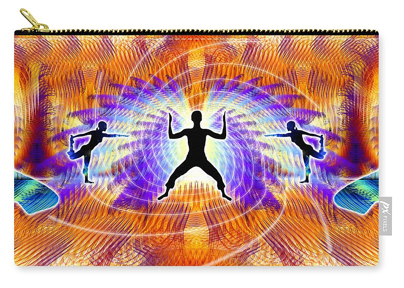 Cosmic Spiral Ascension Carry-all Pouch featuring the digital art Cosmic Spiral Ascension 19 by Derek Gedney