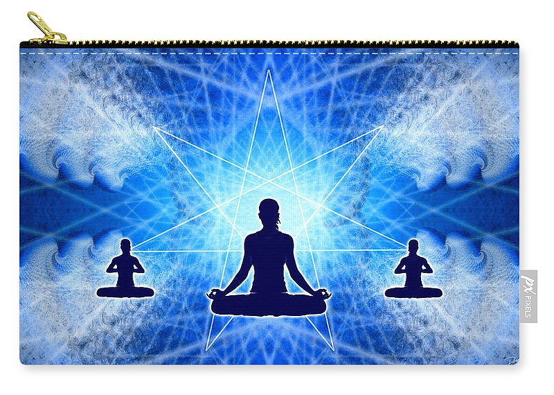 Cosmic Spiral Ascension Carry-all Pouch featuring the digital art Cosmic Spiral Ascension 22 by Derek Gedney