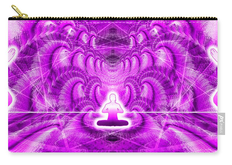 Cosmic Spiral Ascension Carry-all Pouch featuring the digital art Cosmic Spiral Ascension 29 by Derek Gedney