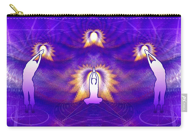 Cosmic Spiral Ascension Carry-all Pouch featuring the digital art Cosmic Spiral Ascension 31 by Derek Gedney