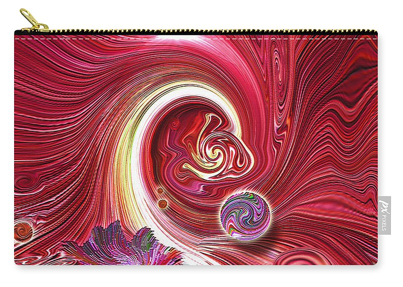 Cosmic Waves Carry-all Pouch featuring the mixed media Cosmic Waves by Carl Hunter